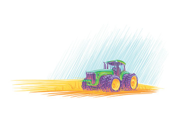 Tractor in field colorful illustration. Vector.