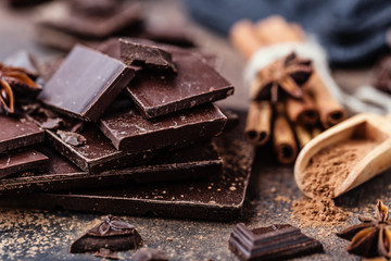 Chocolate bar pieces. Background with chocolate. Sweet food photo concept. The chunks of broken chocolate