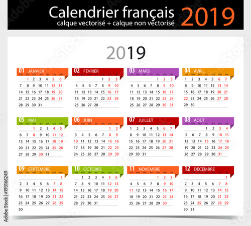 calendrier 2019 fran ais avec jours f ri s modifiable fichier vectoriel libre de droits sur. Black Bedroom Furniture Sets. Home Design Ideas