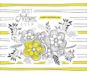 lovely mom for ever handmade postcard vector illustration design