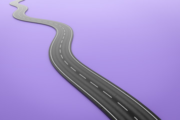 a winding road on a purple background