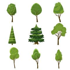 Set of trees, stylization, cartoon style, isolated, vector, illustration