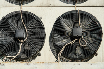Air conditioning and refrigeretion system outside units - compressors and condensers.