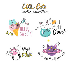 T shirt prints design for girls. Vector illustrations with funny doodle cats and quotes. Isolated on white.