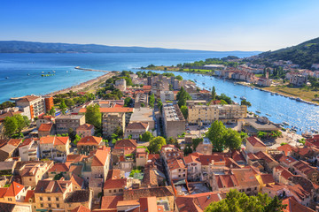 Omis old town, beautiful cityscape of mediterranean tourist resort at sunny summer day, panoramic view from Mirabella (Peovica) fortress, Dalmatia, Croatia