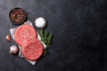 Raw minced beef meat for home made burgers Wall mural
