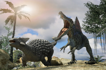 3D Illustration of a battle between two prehistoric dinosaur