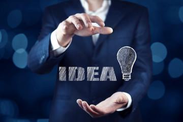 man hand idea and  bulb