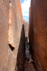 abstract sandstone crevass in Southern Utah Bears Ears area.