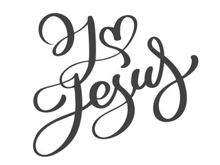 Hand drawn I love Jesus lettering with heart text on white background. Calligraphy lettering Vector illustration