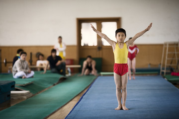 Portrait of boy doing gymnastics in a gym