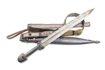old caucasian dagger with a belt on a white background, isolated
