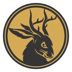 Wall Mural - Jackalope head circle gold