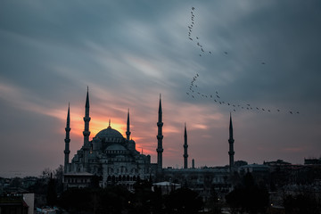 Istanbul, Turkey. Sultan Ahmet Camii named Blue Mosque turkish islamic landmark with six minarets, main attraction of the city.