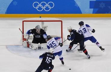 Olympics: Ice Hockey-Men Team Qualification Match for Quarterfinal - USA-SVK