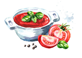 Natural tomato soup. Watercolor hand drawn illustration, isolated on white background