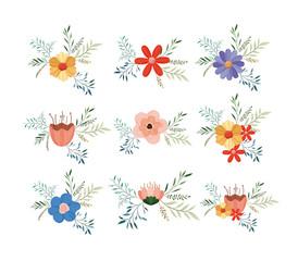 set floral decoration vintage style vector illustration design