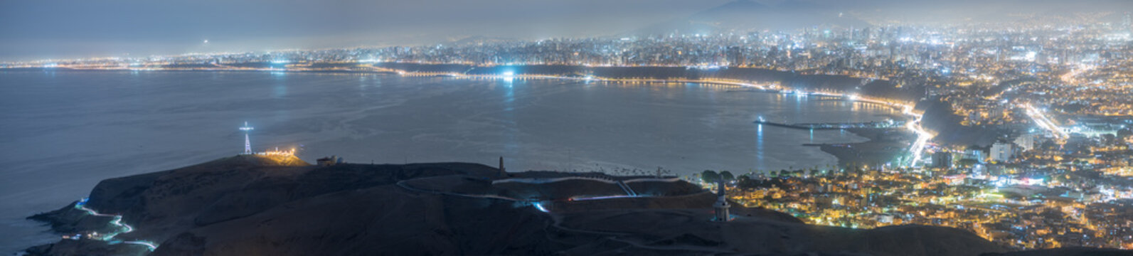 Panoramic view of Lima, Peru at blue time.