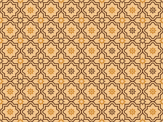 Abstract seamless geometric pattern in Arabic, Oriental style. Seamless pattern in islamic style. Seamless vector background. Colorful brown shades, brown tones AI10.