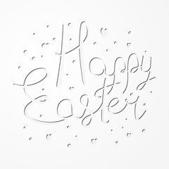 Festive paper cut Happy Easter text design for congratulation cards