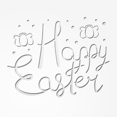 Paper cut Happy Easter text with egg-shaped angels