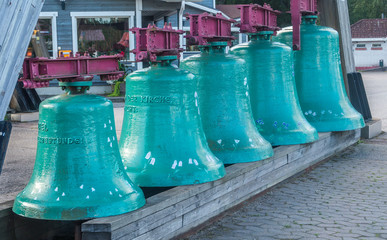 VASKIKELLO, FINLAND - AUGUST 17, 2017: Collection of church bells from different countries of the world