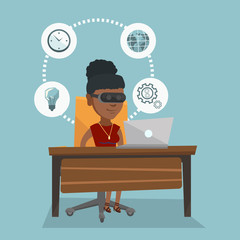 African-american business woman wearing virtual reality headset and working on a computer. Young business woman using virtual reality device in the office. Vector cartoon illustration. Square layout.