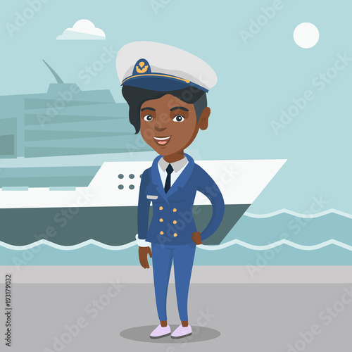 Africanamerican Female Ship Captain Standing On The Background Of - How to be a cruise ship captain