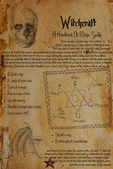 Eerie recipe from witch's grimoire. Drawings of human skull, bat's wing, the Seal of Solomon, planetary signs, pentagram. A few Elder Futhark and Anglo-Saxon runes.