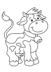 Coloring book with farm animal vector