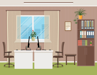 Office interior design template with furniture including desk, armchairs, laptop and window. Business office with two workplaces