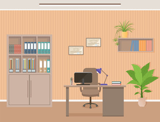 Office workspace organization. Business interior design with furniture including desk, armchair and laptop Workplace without employee.