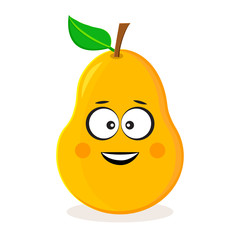 Cartoon yellow pear. Fruit emoticon. Stylized character. Vector illustration