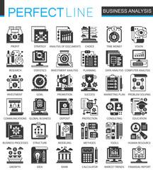 Vector Business analytics classic black mini concept icons and infographic symbols set