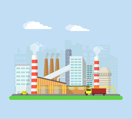 Factory from the outside. Pipes and blast furnaces, working machines. Buildings and facilities of the factory. Vector flat illustration