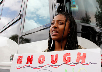 Marjory Stoneman Douglas High School students board buses to travel to Tallahassee, Florida to meet with legislators, in Coral Springs