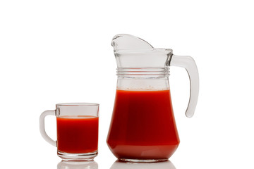 tomato juice, jug, glass Cup