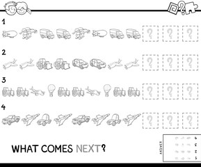 complete pattern with vehicles coloring book