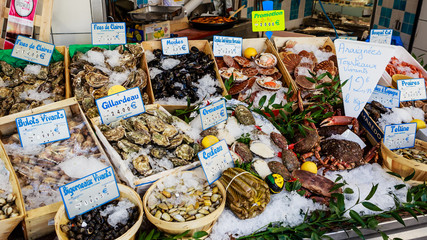 Fish shop in a market, Paris, France