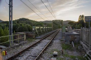 Train bridge cross tevere river near Umbertide,italy