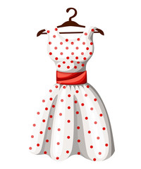 Polka dot dress white dress in red dotted with red belt hanging on wooden hanger vector illustration isolated on white background web site page and mobile app design