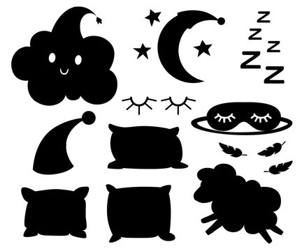 Set of black silhouettes objects for sleep cap for dream pillow different colors lamb cloud moon bandage for eyes on white background vector illustration web site page and mobile app design