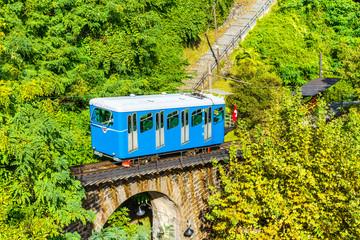 Tourist train of the Madonna del Sasso Church, at Locarno, Switzerland