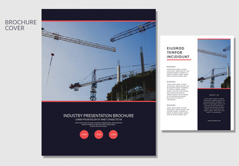 Brochure Layout with Construction Imagery