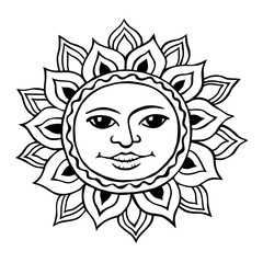 Stylized sun with a womans face