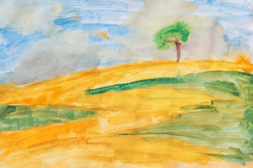Watercolor on canvas. yellow field, green grass and blue sky
