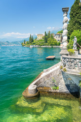 amazing lake Como in Varenna village, Italy