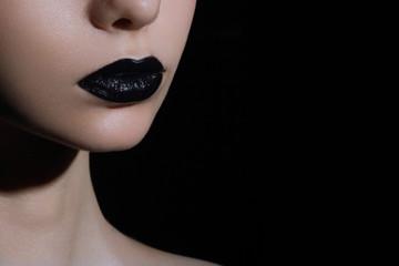 Spoed Fotobehang Fashion Lips Glamour black gloss lips with sensuality gesture.