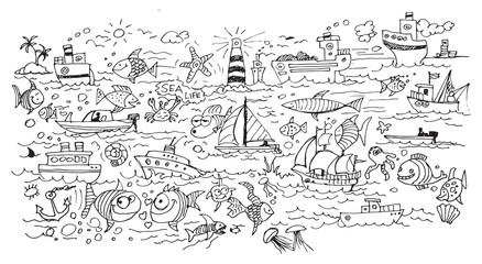 Sea life - doodle hand drawing