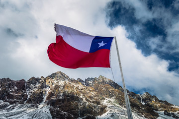 Chile - July 07, 2017: Chilean Flag in the border between Argentina and Chile